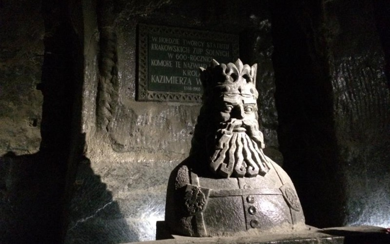 A salt bust of King Kazmierz at the Wieliczka Salt Mines
