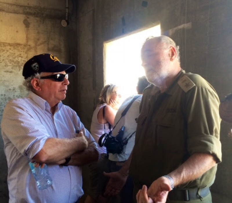 Rabbi Bill Berk and Colonel Bentzi Gruber on an IDF army base